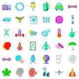 Ícones futuros ajustados, estilo dos desenhos animados Foto de Stock Royalty Free
