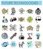 Ícones futuros da cor do outlin das tecnologias ajustados no fundo branco para o gráfico e o design web, sinal simples moderno do ilustração do vetor