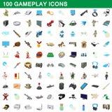 100 ícones gameplay ajustados, estilo dos desenhos animados ilustração stock