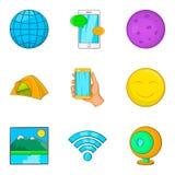Ícones Geological ajustados, estilo da exploração dos desenhos animados ilustração royalty free