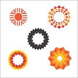 Ícones geométricos abstratos modernos do sol do vetor Fotografia de Stock Royalty Free