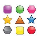 Ícones geométricos coloridos Fotografia de Stock Royalty Free