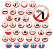 Ícones Glassy do sinal de estrada Imagens de Stock Royalty Free