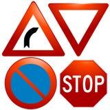 ícones glassy do sinal de estrada do vetor Fotografia de Stock Royalty Free
