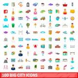 100 ícones grandes ajustados, estilo da cidade dos desenhos animados ilustração do vetor