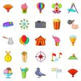 Ícones grandes ajustados, estilo do feriado dos desenhos animados Foto de Stock Royalty Free
