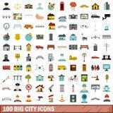 100 ícones grandes ajustados, estilo liso da cidade ilustração do vetor