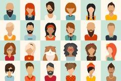 Ícones grandes ajustados 12 mulheres, 11 homens e 1 ilustração lisa do vetor do ícone do gato Fotos de Stock