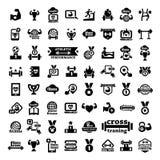 Ícones grandes da aptidão ajustados Fotografia de Stock
