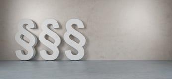 Ícones grandes da lei na rendição moderna do interior 3D Fotografia de Stock Royalty Free