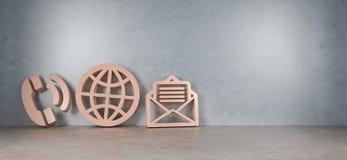 Ícones grandes do contato na rendição moderna do interior 3D Foto de Stock Royalty Free