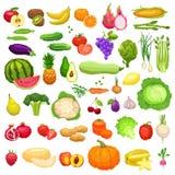 Ícones grandes dos vegetais e dos frutos ajustados no estilo liso Fotos de Stock Royalty Free