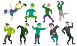 Ícones grupo da dança de Hiphop, estilo dos desenhos animados ilustração do vetor