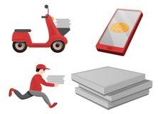 Ícones grupo da entrega da pizza, estilo dos desenhos animados ilustração royalty free