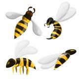 Ícones grupo da vespa, estilo dos desenhos animados ilustração stock