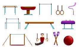 Ícones grupo do equipamento da ginástica, estilo dos desenhos animados ilustração royalty free