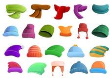Ícones grupo do headwear do inverno, estilo dos desenhos animados ilustração royalty free