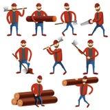 Ícones grupo do lenhador, estilo dos desenhos animados ilustração stock