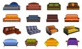 Ícones grupo do sofá, estilo dos desenhos animados ilustração royalty free
