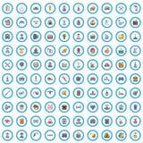 100 ícones grupo do trabalhador companheiro, estilo dos desenhos animados ilustração do vetor