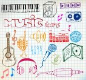 Ícones hand-drawn da música Fotografia de Stock Royalty Free