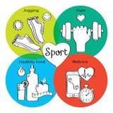 Ícones handdrawn de movimentar-se, gym do conceito saudável da vida, alimento saudável, medidor Imagem de Stock