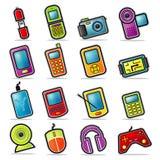 Ícones Handheld coloridos da eletrônica Imagens de Stock Royalty Free