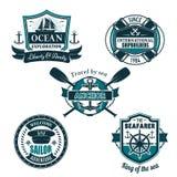 Ícones heráldicos náuticos do vetor da navigação do marinheiro ilustração royalty free