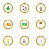 Ícones holandeses ajustados, estilo do curso dos desenhos animados Foto de Stock Royalty Free