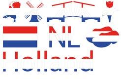 Ícones holandeses no azul branco vermelho Fotos de Stock