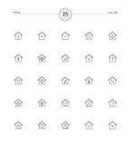 Ícones home ajustados, ilustração do vetor Imagens de Stock Royalty Free