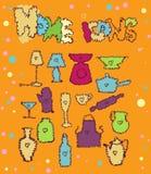 Ícones Home, desenhos animados Fotografia de Stock Royalty Free