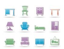 Ícones Home do equipamento e da mobília Imagem de Stock