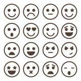 Ícones humanos da emoção, mono símbolos do vetor Fotografia de Stock Royalty Free