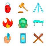 Ícones ilegais ajustados, estilo da ação dos desenhos animados ilustração stock