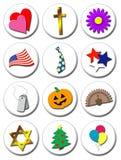Ícones ilustrados do feriado Fotos de Stock Royalty Free