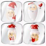 Ícones, imagens, pendents aproximadamente o vetor de quatro Santa Claus em um fundo cinzento Fotografia de Stock
