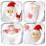 Ícones, imagens, pendents aproximadamente o vetor de quatro Santa Claus em um fundo cinzento Foto de Stock