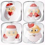 Ícones, imagens, pendents aproximadamente quatro Santa Claus em um fundo cinzento Fotos de Stock