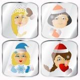 Ícones, imagens, pendents aproximadamente a Sra. quatro Santa Claus em um fundo cinzento Foto de Stock