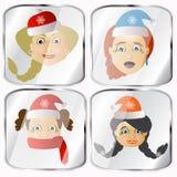 Ícones, imagens, pendents aproximadamente a Sra. quatro Santa Claus em um fundo cinzento Imagem de Stock Royalty Free