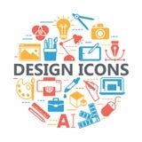 Ícones imprimir e de projeto gráfico Foto de Stock Royalty Free