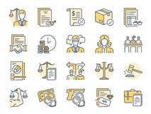 Ícones incluídos como a lei, o advogado, o juiz, a corte, a defesa e o mais ilustração stock