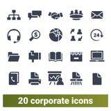 Ícones incorporados, de uma comunicação empresarial e do escritório ilustração do vetor