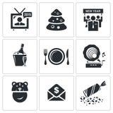 Ícones incorporados do ano novo ajustados Imagens de Stock Royalty Free