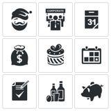 Ícones incorporados do ano novo ajustados Foto de Stock