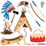 Ícones indianos americanos de Clipart ilustração stock