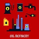 Ícones industriais lisos da refinaria de petróleo Fotografia de Stock Royalty Free