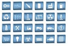 Ícones industriais no formato do vetor Imagens de Stock Royalty Free