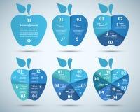 ícones infographic do molde e do mercado do projeto 3D Ícone de Apple Imagens de Stock